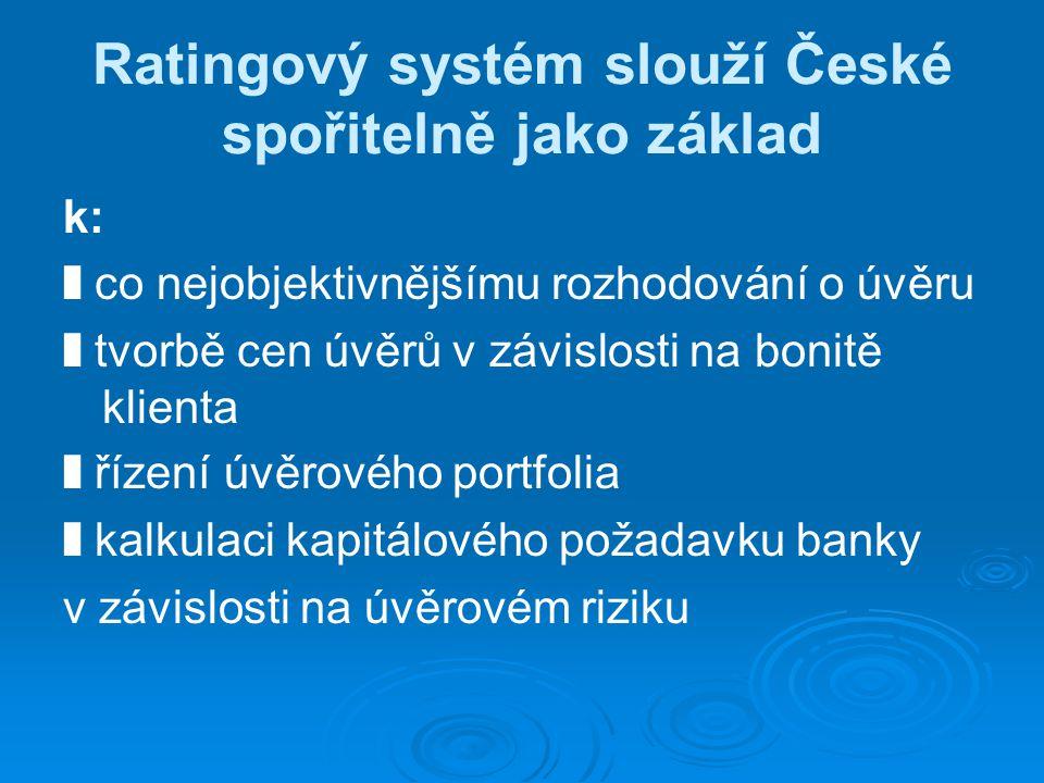 Ratingový systém slouží České spořitelně jako základ k: ❚ co nejobjektivnějšímu rozhodování o úvěru ❚ tvorbě cen úvěrů v závislosti na bonitě klienta ❚ řízení úvěrového portfolia ❚ kalkulaci kapitálového požadavku banky v závislosti na úvěrovém riziku
