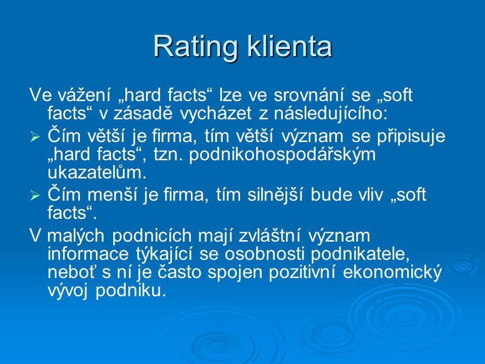 """Rating klienta Ve vážení """"hard facts lze ve srovnání se """"soft facts v zásadě vycházet z následujícího:   Čím větší je firma, tím větší význam se připisuje """"hard facts , tzn."""