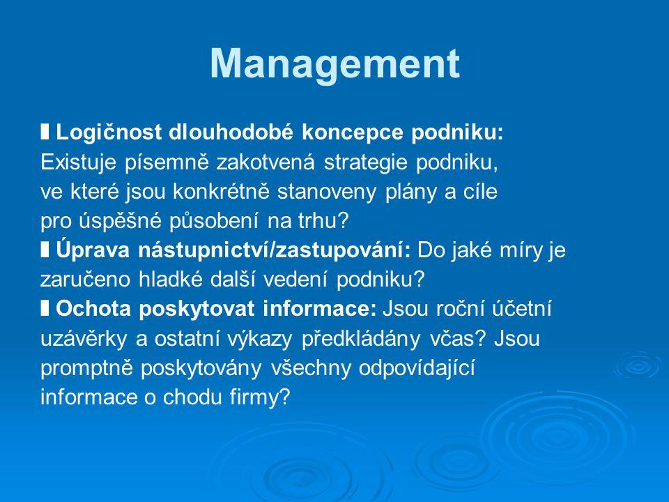 Management ❚ Logičnost dlouhodobé koncepce podniku: Existuje písemně zakotvená strategie podniku, ve které jsou konkrétně stanoveny plány a cíle pro úspěšné působení na trhu.