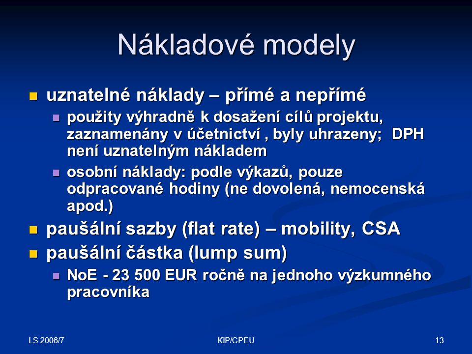 LS 2006/7 13KIP/CPEU Nákladové modely uznatelné náklady – přímé a nepřímé uznatelné náklady – přímé a nepřímé použity výhradně k dosažení cílů projektu, zaznamenány v účetnictví, byly uhrazeny; DPH není uznatelným nákladem použity výhradně k dosažení cílů projektu, zaznamenány v účetnictví, byly uhrazeny; DPH není uznatelným nákladem osobní náklady: podle výkazů, pouze odpracované hodiny (ne dovolená, nemocenská apod.) osobní náklady: podle výkazů, pouze odpracované hodiny (ne dovolená, nemocenská apod.) paušální sazby (flat rate) – mobility, CSA paušální sazby (flat rate) – mobility, CSA paušální částka (lump sum) paušální částka (lump sum) NoE - 23 500 EUR ročně na jednoho výzkumného pracovníka NoE - 23 500 EUR ročně na jednoho výzkumného pracovníka