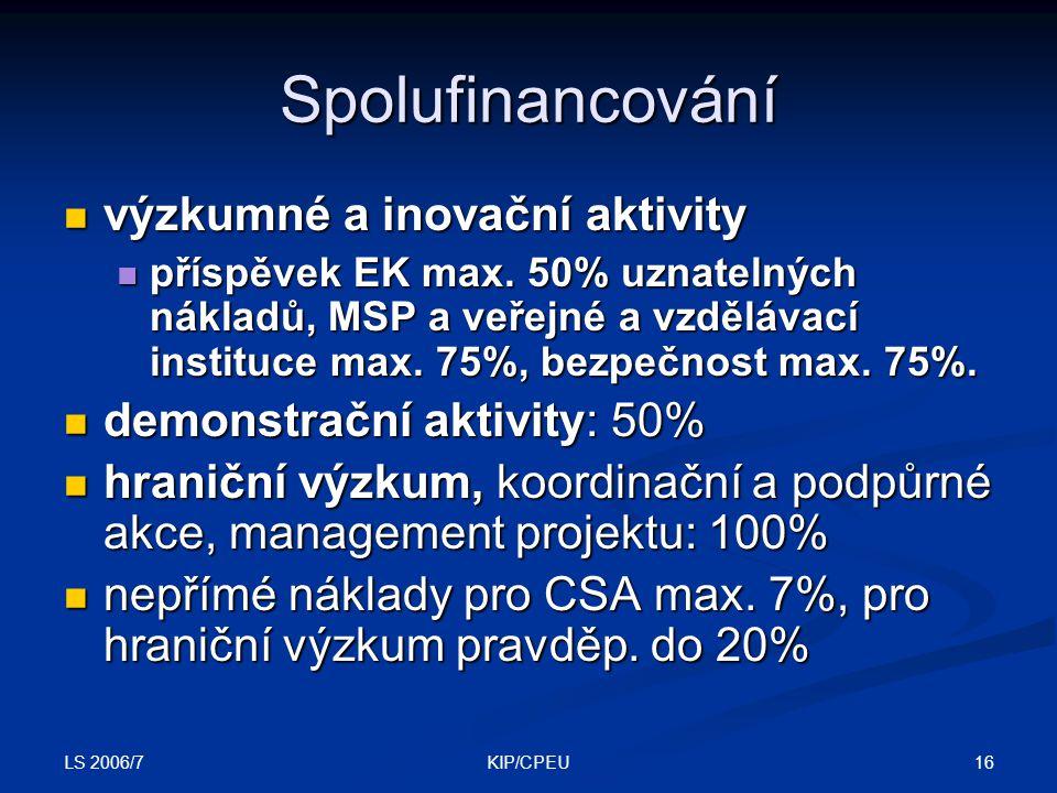 LS 2006/7 16KIP/CPEU Spolufinancování výzkumné a inovační aktivity výzkumné a inovační aktivity příspěvek EK max.