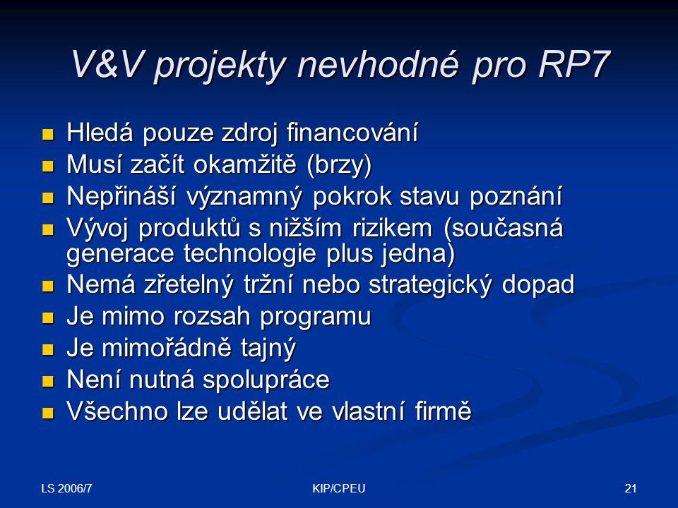 LS 2006/7 21KIP/CPEU V&V projekty nevhodné pro RP7 Hledá pouze zdroj financování Hledá pouze zdroj financování Musí začít okamžitě (brzy) Musí začít okamžitě (brzy) Nepřináší významný pokrok stavu poznání Nepřináší významný pokrok stavu poznání Vývoj produktů s nižším rizikem (současná generace technologie plus jedna) Vývoj produktů s nižším rizikem (současná generace technologie plus jedna) Nemá zřetelný tržní nebo strategický dopad Nemá zřetelný tržní nebo strategický dopad Je mimo rozsah programu Je mimo rozsah programu Je mimořádně tajný Je mimořádně tajný Není nutná spolupráce Není nutná spolupráce Všechno lze udělat ve vlastní firmě Všechno lze udělat ve vlastní firmě