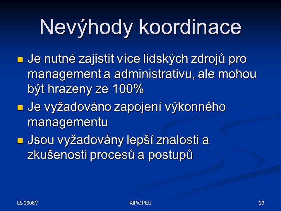 LS 2006/7 23KIP/CPEU Nevýhody koordinace Je nutné zajistit více lidských zdrojů pro management a administrativu, ale mohou být hrazeny ze 100% Je nutné zajistit více lidských zdrojů pro management a administrativu, ale mohou být hrazeny ze 100% Je vyžadováno zapojení výkonného managementu Je vyžadováno zapojení výkonného managementu Jsou vyžadovány lepší znalosti a zkušenosti procesů a postupů Jsou vyžadovány lepší znalosti a zkušenosti procesů a postupů
