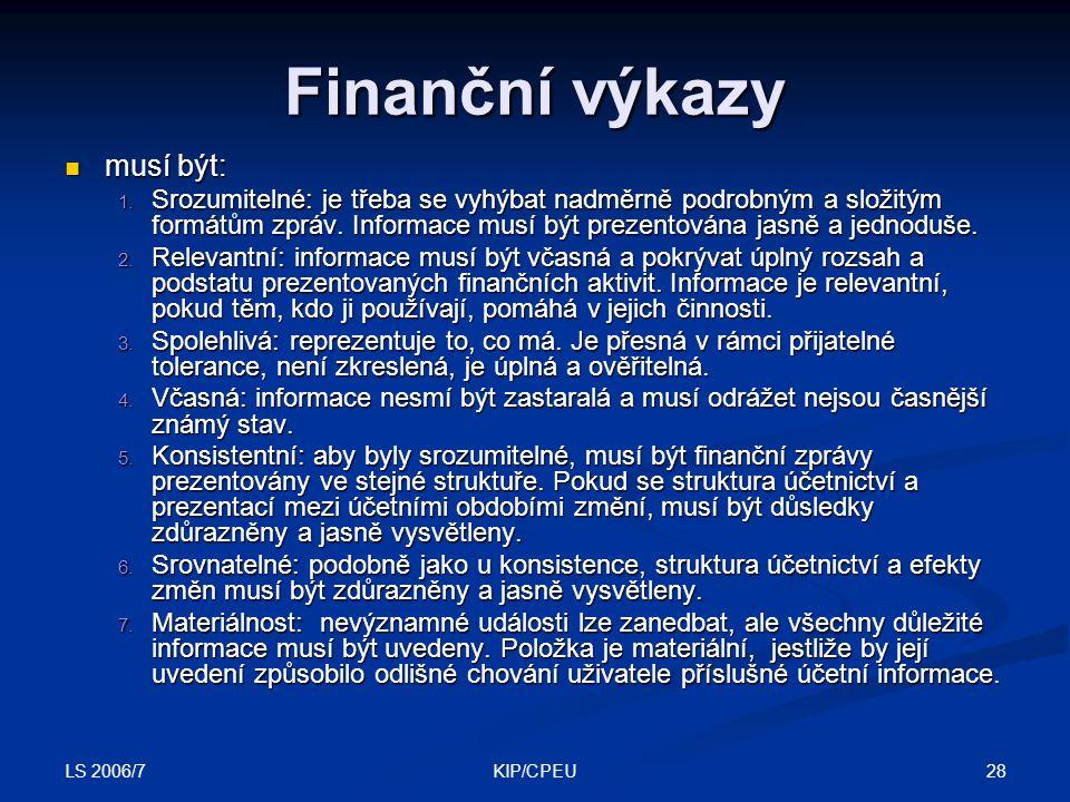LS 2006/7 28KIP/CPEU Finanční výkazy musí být: musí být: 1.