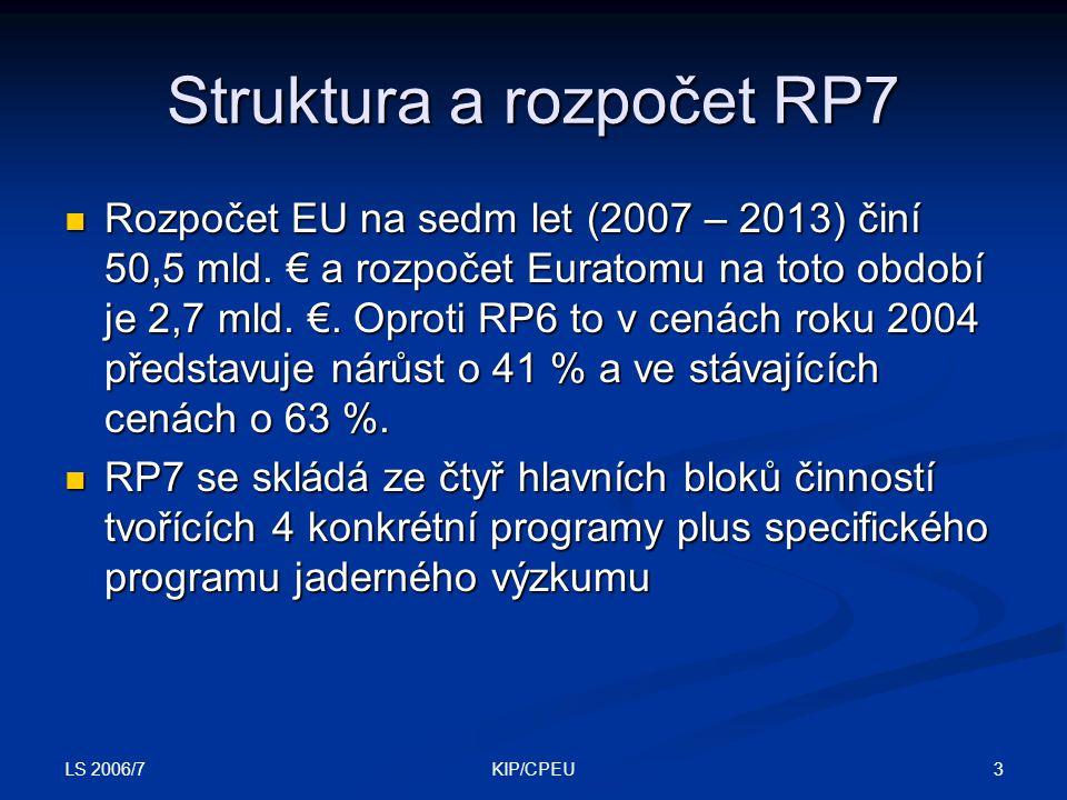 LS 2006/7 3KIP/CPEU Struktura a rozpočet RP7 Rozpočet EU na sedm let (2007 – 2013) činí 50,5 mld.
