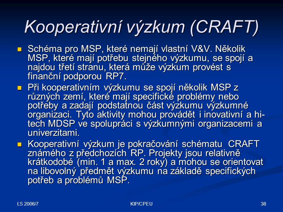 LS 2006/7 38KIP/CPEU Kooperativní výzkum (CRAFT) Schéma pro MSP, které nemají vlastní V&V.