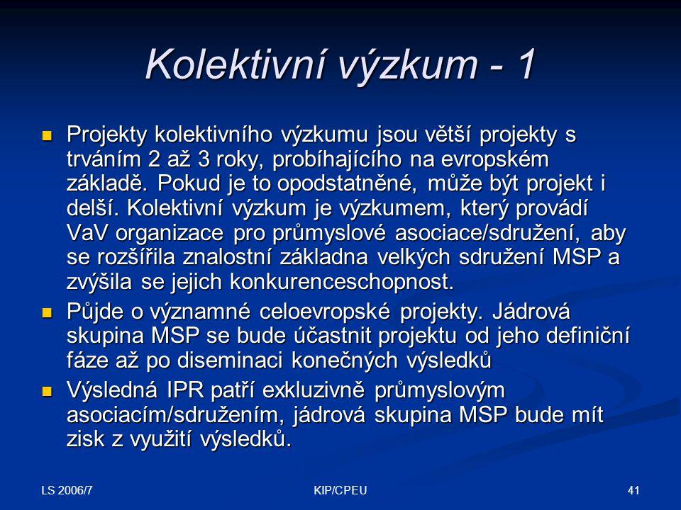 LS 2006/7 41KIP/CPEU Kolektivní výzkum - 1 Projekty kolektivního výzkumu jsou větší projekty s trváním 2 až 3 roky, probíhajícího na evropském základě.