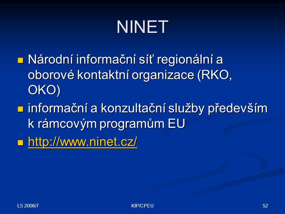 LS 2006/7 52KIP/CPEU NINET Národní informační síť regionální a oborové kontaktní organizace (RKO, OKO) Národní informační síť regionální a oborové kontaktní organizace (RKO, OKO) informační a konzultační služby především k rámcovým programům EU informační a konzultační služby především k rámcovým programům EU http://www.ninet.cz/ http://www.ninet.cz/ http://www.ninet.cz/