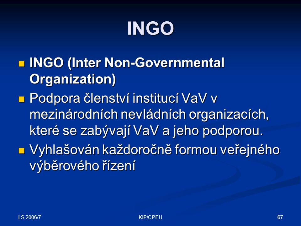 LS 2006/7 67KIP/CPEU INGO INGO (Inter Non-Governmental Organization) INGO (Inter Non-Governmental Organization) Podpora členství institucí VaV v mezinárodních nevládních organizacích, které se zabývají VaV a jeho podporou.