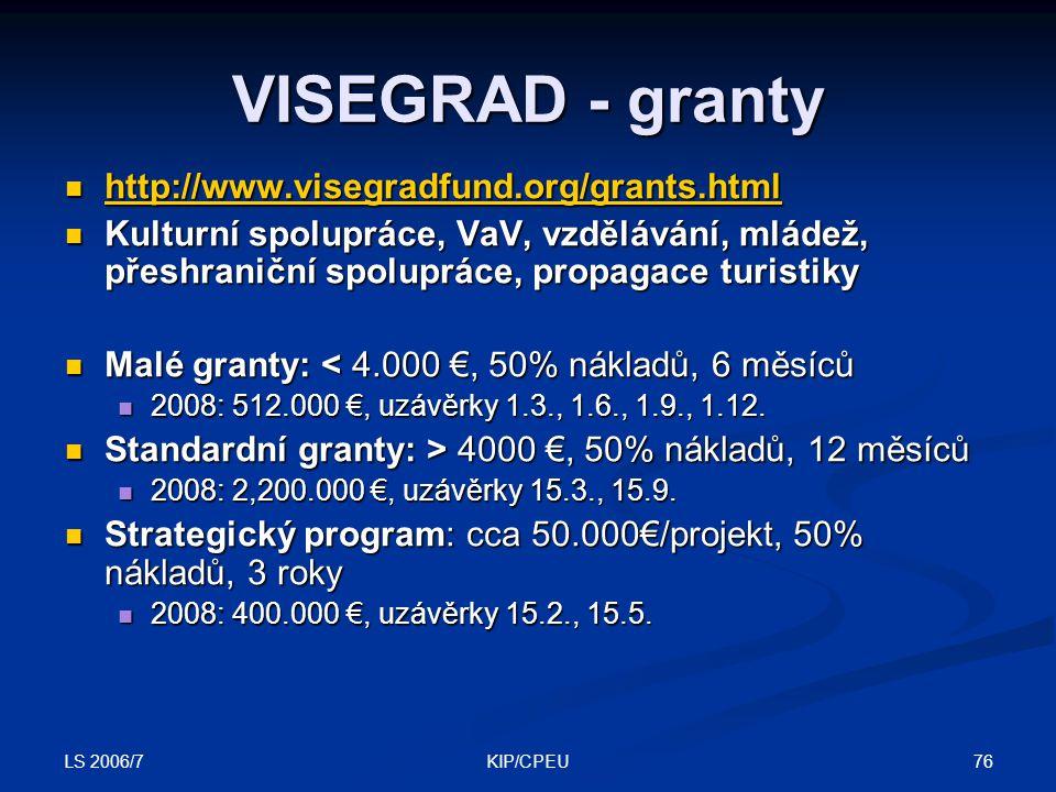LS 2006/7 76KIP/CPEU VISEGRAD - granty http://www.visegradfund.org/grants.html http://www.visegradfund.org/grants.html http://www.visegradfund.org/grants.html Kulturní spolupráce, VaV, vzdělávání, mládež, přeshraniční spolupráce, propagace turistiky Kulturní spolupráce, VaV, vzdělávání, mládež, přeshraniční spolupráce, propagace turistiky Malé granty: < 4.000 €, 50% nákladů, 6 měsíců Malé granty: < 4.000 €, 50% nákladů, 6 měsíců 2008: 512.000 €, uzávěrky 1.3., 1.6., 1.9., 1.12.