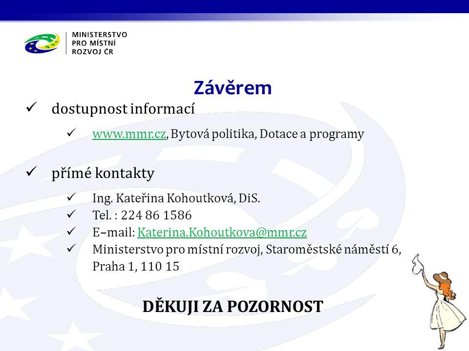 dostupnost informací www.mmr.cz, Bytová politika, Dotace a programy www.mmr.cz přímé kontakty Ing.