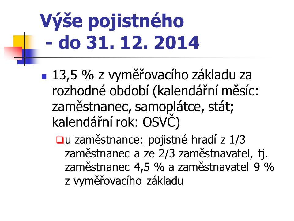 Sazba pojistného – 1. 1. 2015 zaměstnanec - 6,5 % OSVČ – 6,5 % samoplátce – 13,5 % stát – 13,5 %