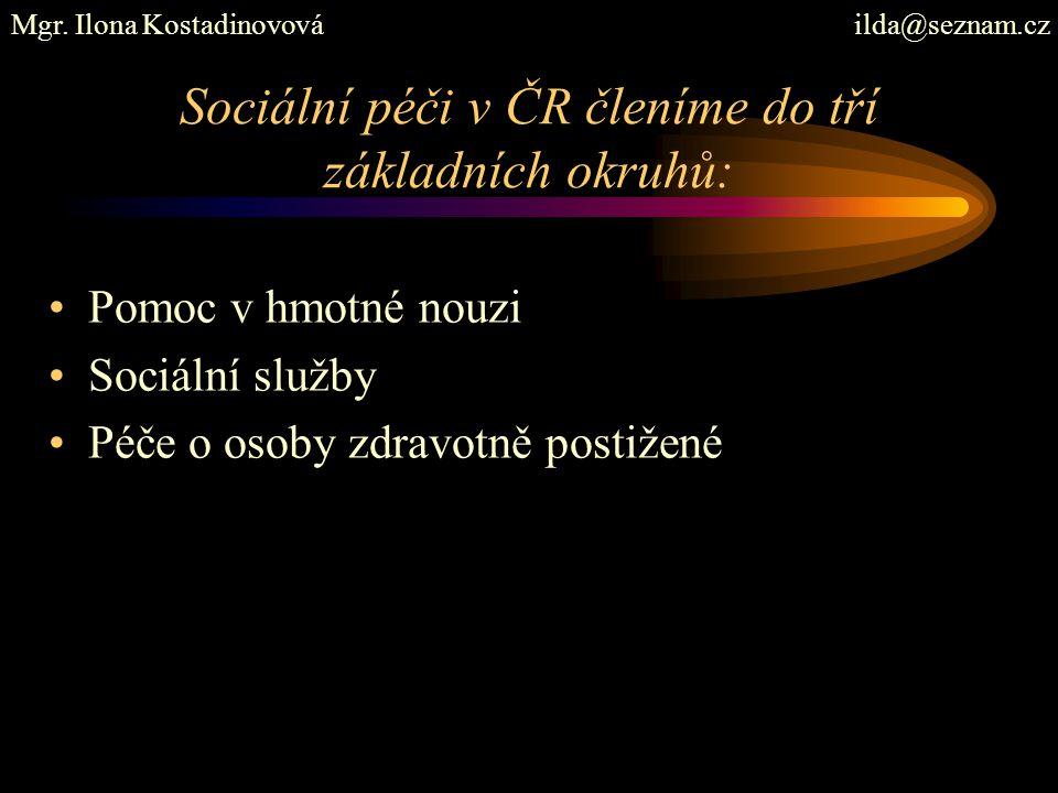 Sociální péči v ČR členíme do tří základních okruhů: Pomoc v hmotné nouzi Sociální služby Péče o osoby zdravotně postižené Mgr.