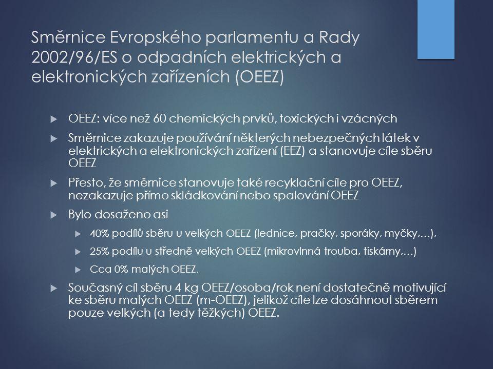 Směrnice Evropského parlamentu a Rady 2002/96/ES o odpadních elektrických a elektronických zařízeních (OEEZ)  OEEZ: více než 60 chemických prvků, tox