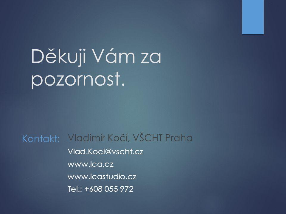 Děkuji Vám za pozornost. Kontakt: Vladimír Kočí, VŠCHT Praha Vlad.Koci@vscht.cz www.lca.cz www.lcastudio.cz Tel.: +608 055 972