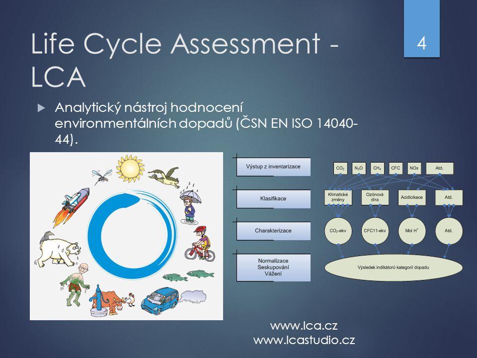 Life Cycle Assessment - LCA  Analytický nástroj hodnocení environmentálních dopadů (ČSN EN ISO 14040- 44).  4 www.lca.cz www.lcastudio.cz