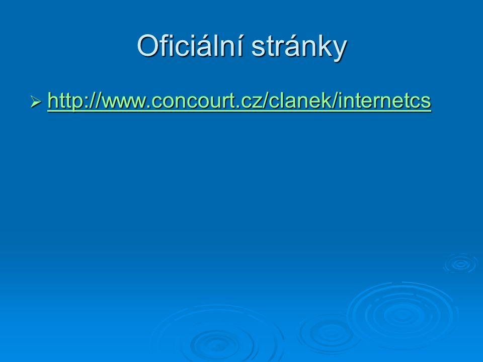 Oficiální stránky  http://www.concourt.cz/clanek/internetcs http://www.concourt.cz/clanek/internetcs