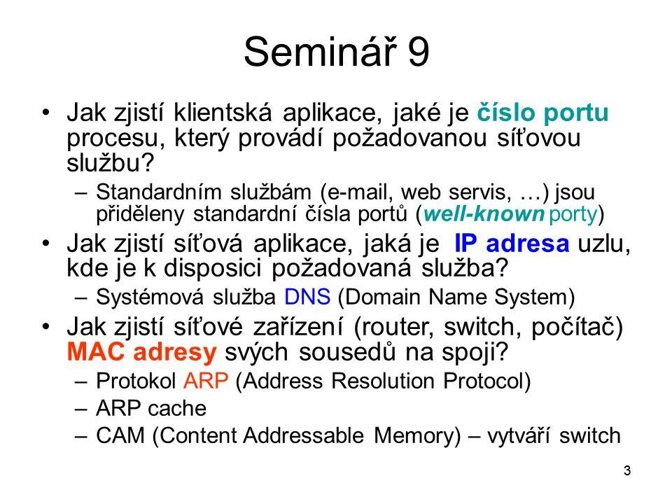 3 Seminář 9 Jak zjistí klientská aplikace, jaké je číslo portu procesu, který provádí požadovanou síťovou službu? –Standardním službám (e-mail, web se