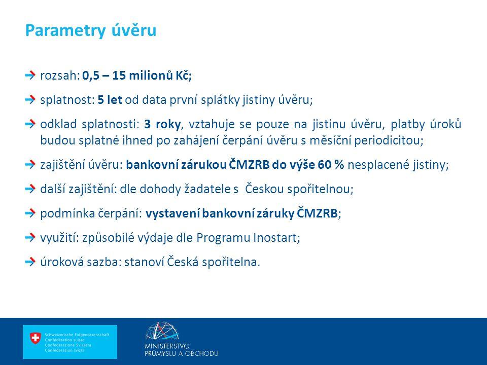 Ing. Martin Kocourek ministr průmyslu a obchodu ZPĚT NA VRCHOL – INSTITUCE, INOVACE A INFRASTRUKTURA rozsah: 0,5 – 15 milionů Kč; splatnost: 5 let od