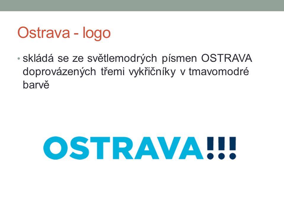 Ostrava - logo skládá se ze světlemodrých písmen OSTRAVA doprovázených třemi vykřičníky v tmavomodré barvě