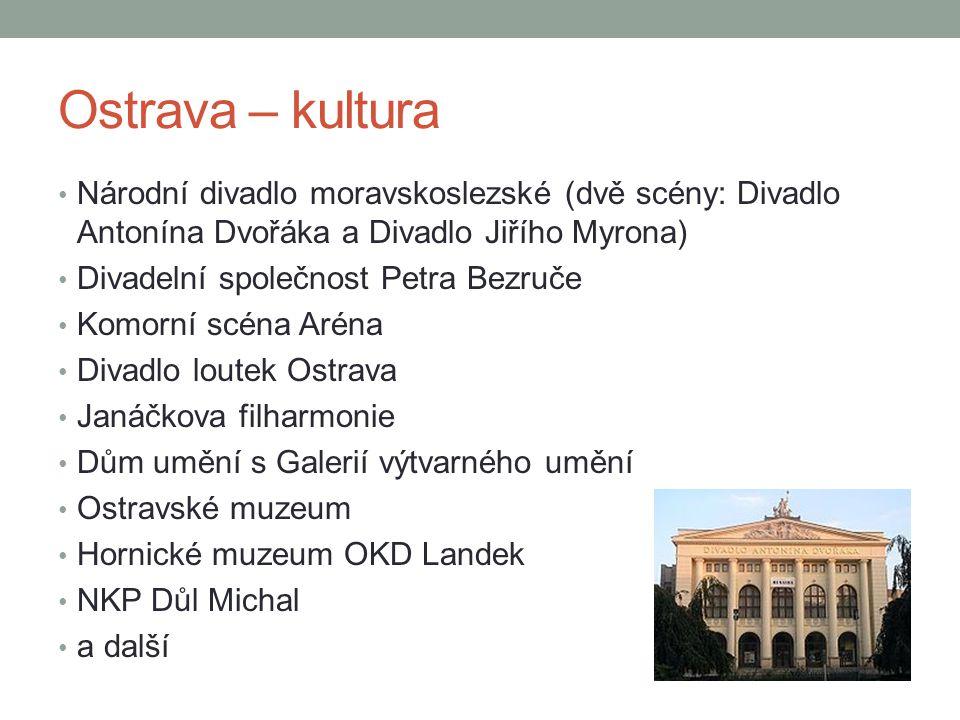 Ostrava – kultura Národní divadlo moravskoslezské (dvě scény: Divadlo Antonína Dvořáka a Divadlo Jiřího Myrona) Divadelní společnost Petra Bezruče Kom