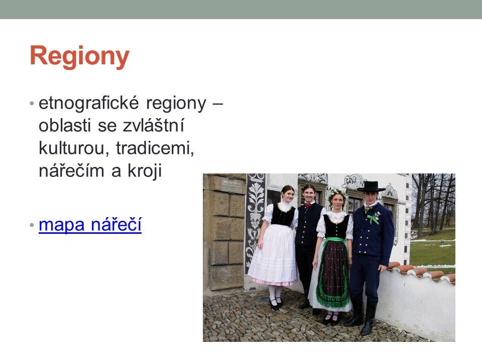 Regiony etnografické regiony – oblasti se zvláštní kulturou, tradicemi, nářečím a kroji mapa nářečí