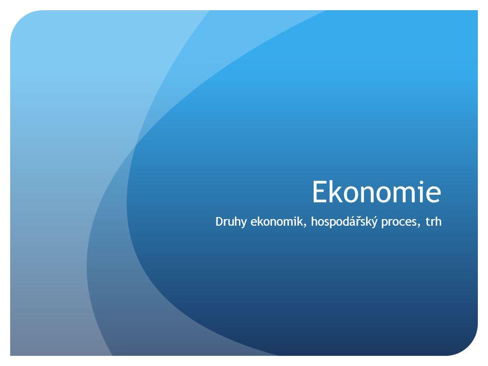 Ekonomie Druhy ekonomik, hospodářský proces, trh