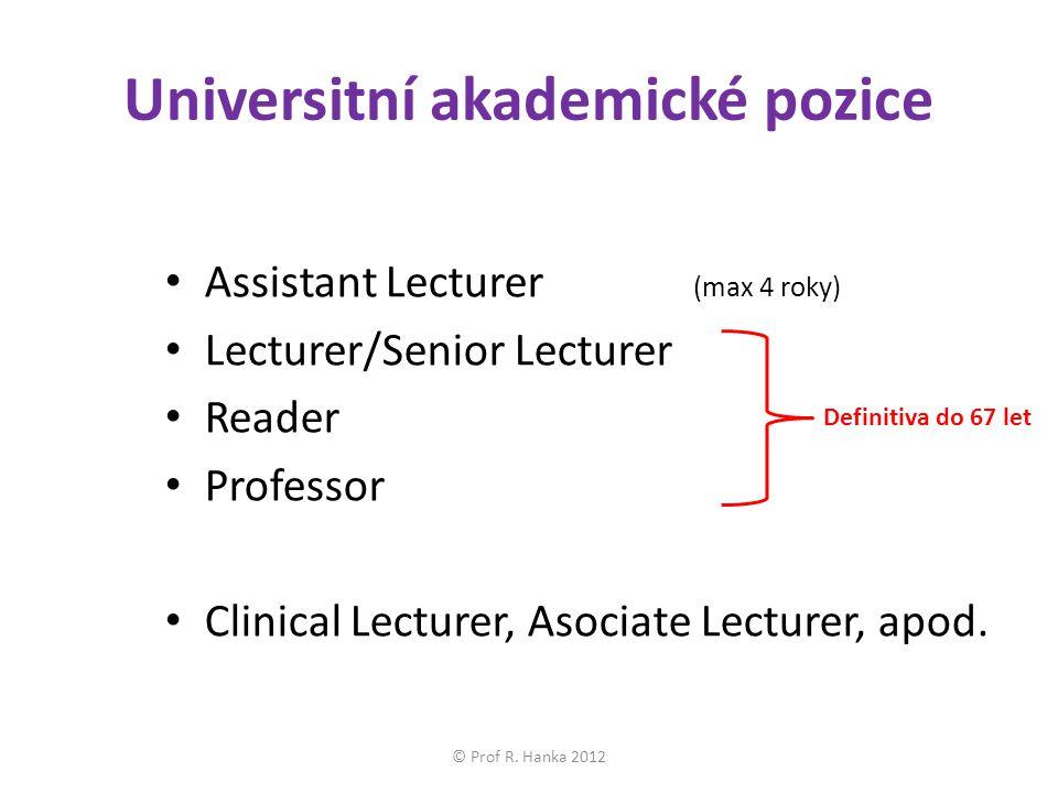 Universitní akademické pozice Assistant Lecturer (max 4 roky) Lecturer/Senior Lecturer Reader Professor Clinical Lecturer, Asociate Lecturer, apod.