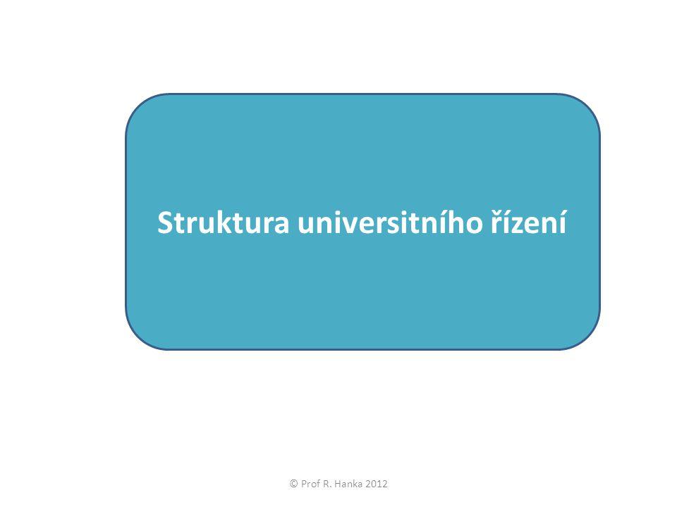 Struktura universitního řízení © Prof R. Hanka 2012