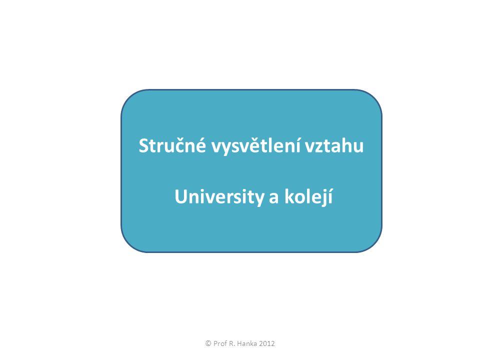 Stručné vysvětlení vztahu University a kolejí © Prof R. Hanka 2012