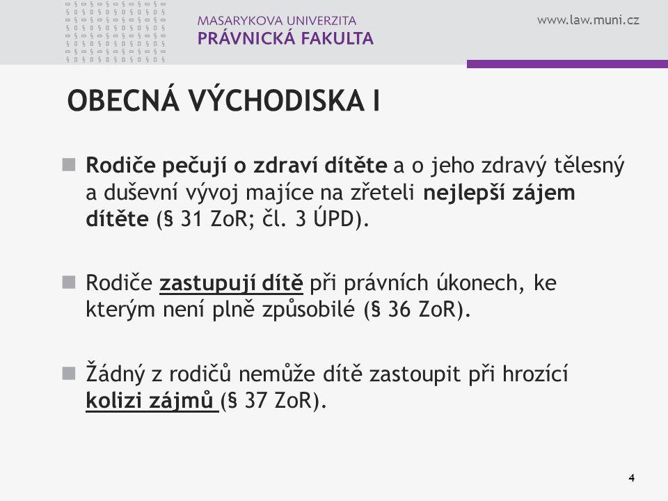 www.law.muni.cz OBECNÁ VÝCHODISKA II Nedohodnou-li se rodiče o podstatných věcech při výkonu rodičovské zodpovědnosti, rozhodne soud (§ 49 ZoR v návaznosti na § 176 OSŘ).