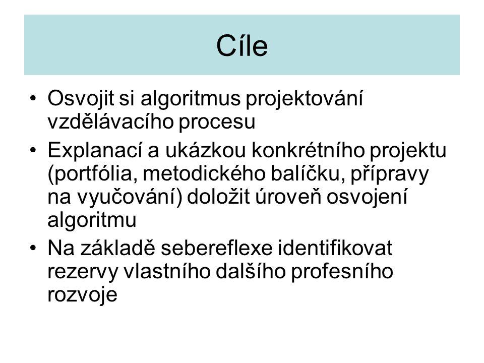 Cíle Osvojit si algoritmus projektování vzdělávacího procesu Explanací a ukázkou konkrétního projektu (portfólia, metodického balíčku, přípravy na vyu