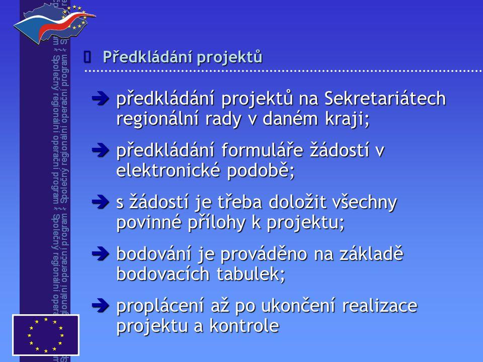 Předkládání projektů   předkládání projektů na Sekretariátech regionální rady v daném kraji;  předkládání formuláře žádostí v elektronické podobě;  s žádostí je třeba doložit všechny povinné přílohy k projektu;  bodování je prováděno na základě bodovacích tabulek;  proplácení až po ukončení realizace projektu a kontrole