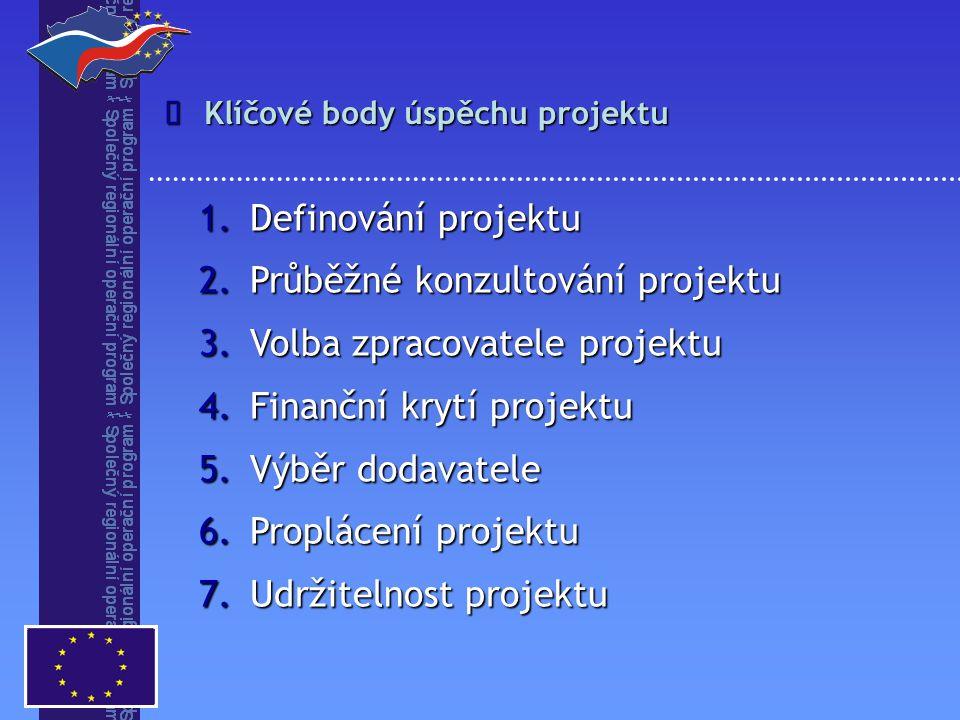 Klíčové body úspěchu projektu  1.Definování projektu 2.Průběžné konzultování projektu 3.Volba zpracovatele projektu 4.Finanční krytí projektu 5.Výběr dodavatele 6.Proplácení projektu 7.Udržitelnost projektu