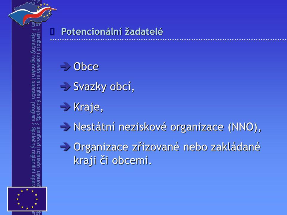 Potencionální žadatelé   Obce  Svazky obcí,  Kraje,  Nestátní neziskové organizace (NNO),  Organizace zřizované nebo zakládané kraji či obcemi.