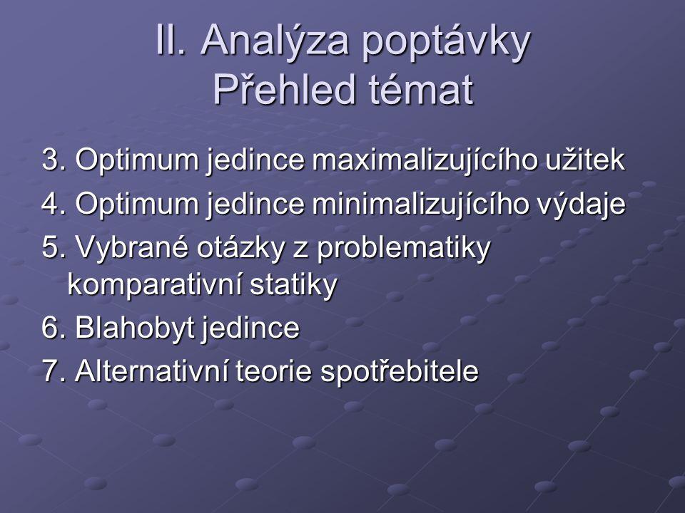 II. Analýza poptávky Přehled témat 3. Optimum jedince maximalizujícího užitek 4. Optimum jedince minimalizujícího výdaje 5. Vybrané otázky z problemat