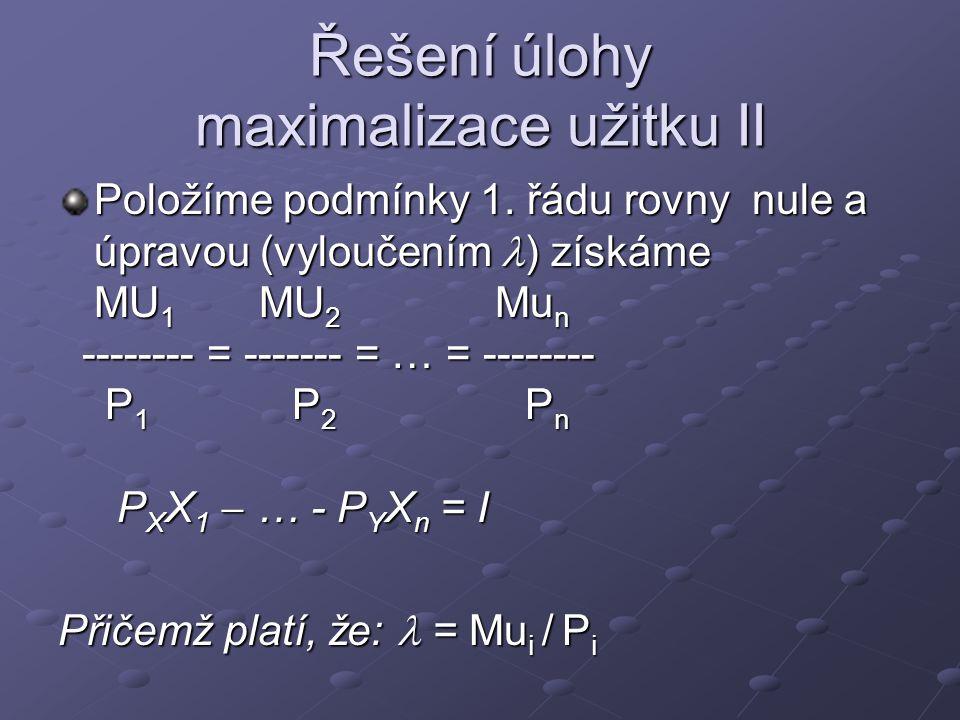 Řešení úlohy maximalizace užitku II Položíme podmínky 1. řádu rovny nule a úpravou (vyloučením ) získáme MU 1 MU 2 Mu n -------- = ------- = … = -----