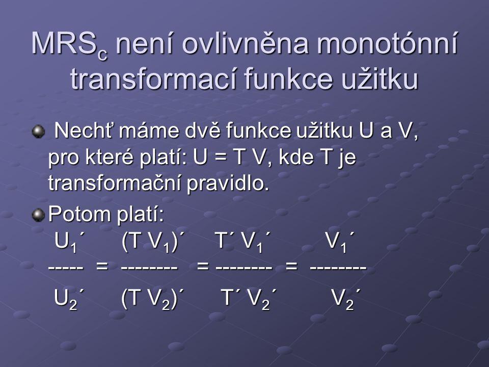 MRS c není ovlivněna monotónní transformací funkce užitku Nechť máme dvě funkce užitku U a V, pro které platí: U = T V, kde T je transformační pravidl