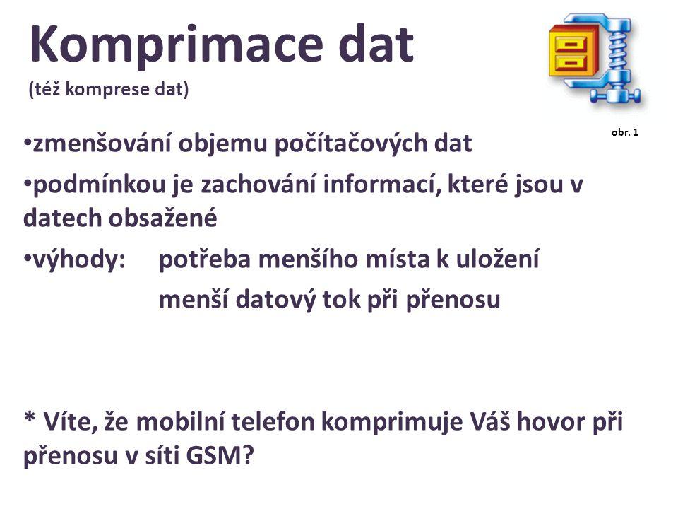 Komprimace dat (též komprese dat) zmenšování objemu počítačových dat podmínkou je zachování informací, které jsou v datech obsažené výhody:potřeba menšího místa k uložení menší datový tok při přenosu * Víte, že mobilní telefon komprimuje Váš hovor při přenosu v síti GSM.