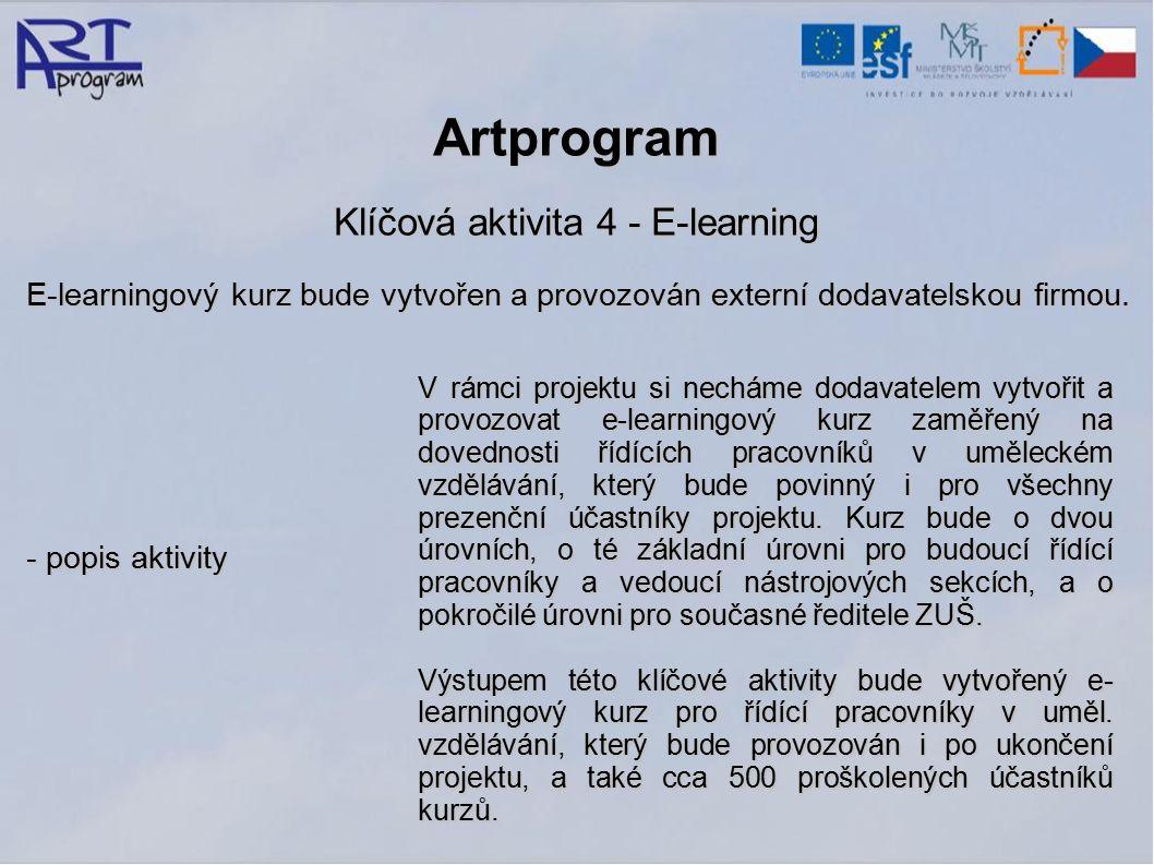 Artprogram Klíčová aktivita 4 - E-learning E-learningový kurz bude vytvořen a provozován externí dodavatelskou firmou.