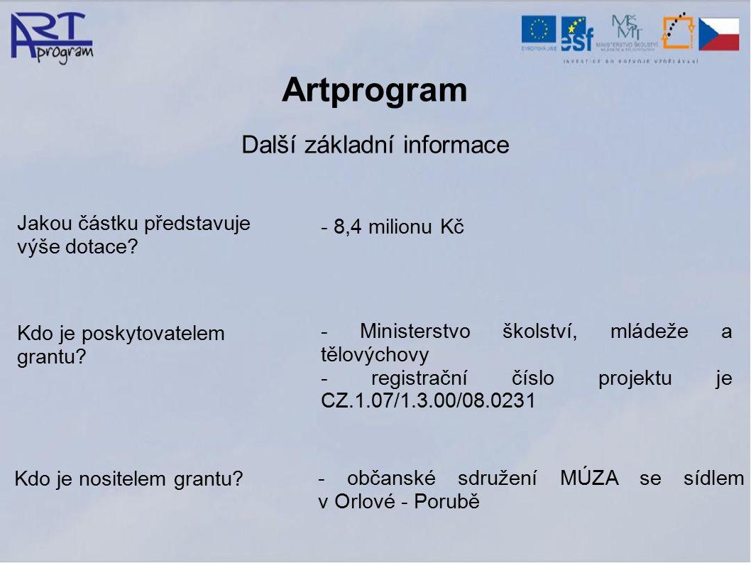 Artprogram Další základní informace Jakou částku představuje výše dotace.