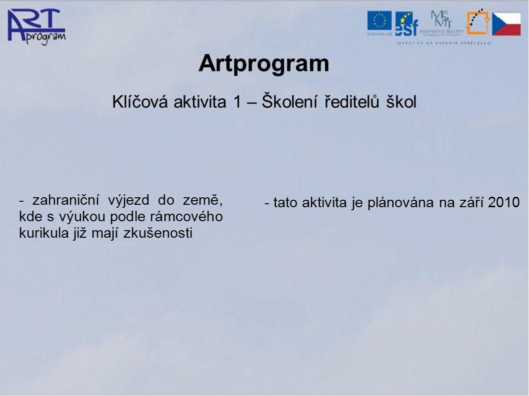 Artprogram Klíčová aktivita 1 – Školení ředitelů škol - zahraniční výjezd do země, kde s výukou podle rámcového kurikula již mají zkušenosti - tato aktivita je plánována na září 2010