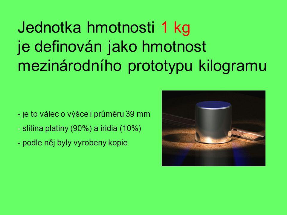 Jednotka hmotnosti 1 kg je definován jako hmotnost mezinárodního prototypu kilogramu - je to válec o výšce i průměru 39 mm - slitina platiny (90%) a iridia (10%) - podle něj byly vyrobeny kopie