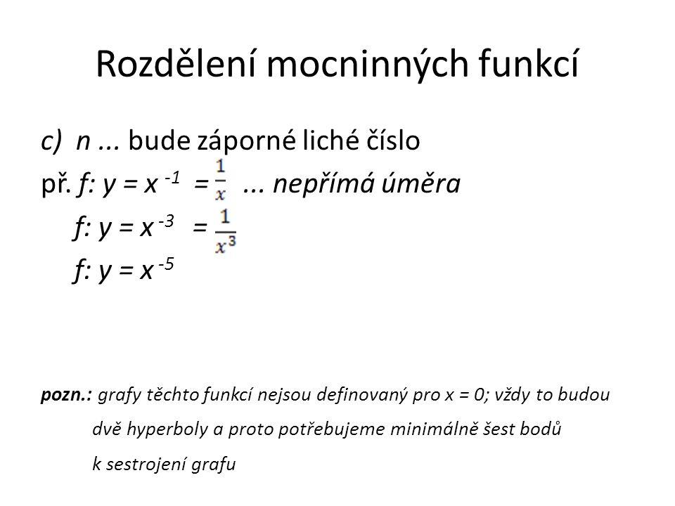 Rozdělení mocninných funkcí c) n... bude záporné liché číslo př. f: y = x -1 =... nepřímá úměra f: y = x -3 = f: y = x -5 pozn.: grafy těchto funkcí n