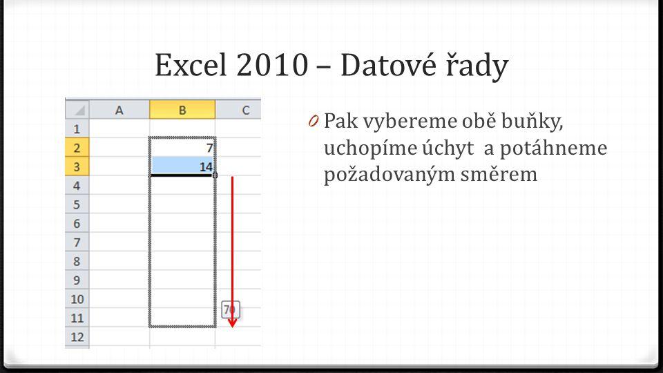 Excel 2010 – Datové řady 0 Pak vybereme obě buňky, uchopíme úchyt a potáhneme požadovaným směrem