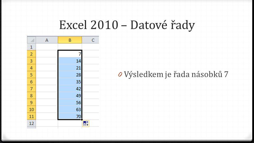 Excel 2010 – Datové řady 0 Výsledkem je řada násobků 7