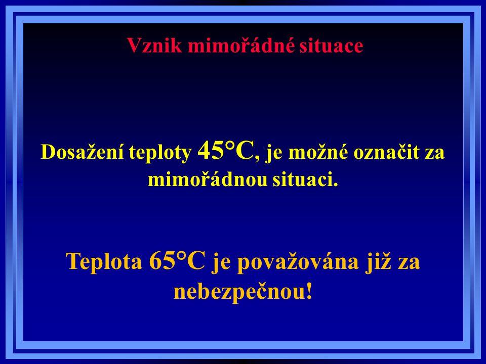 Vznik mimořádné situace Dosažení teploty 45°C, je možné označit za mimořádnou situaci. Teplota 65°C je považována již za nebezpečnou!