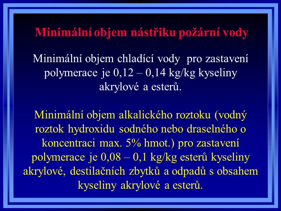 Minimální objem nástřiku požární vody Minimální objem chladící vody pro zastavení polymerace je 0,12 – 0,14 kg/kg kyseliny akrylové a esterů. Minimáln