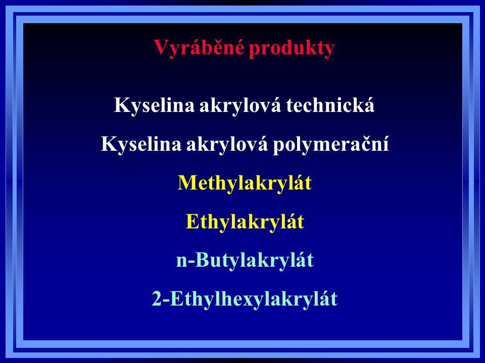 Vyráběné produkty Kyselina akrylová technická Kyselina akrylová polymerační Methylakrylát Ethylakrylát n-Butylakrylát 2-Ethylhexylakrylát
