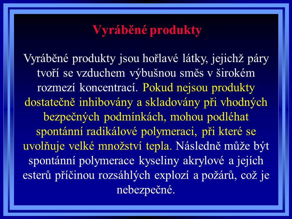Vyráběné produkty LátkaPolymerizační teplo Jednotka Kyselina akrylová1070kJ/kg Methylakrylát960kJ/kg Ethylakrylát653,1kJ/kg n-Butylakrylát489,9kJ/kg 2-Ethylhexylakrylát330,8kJ/kg
